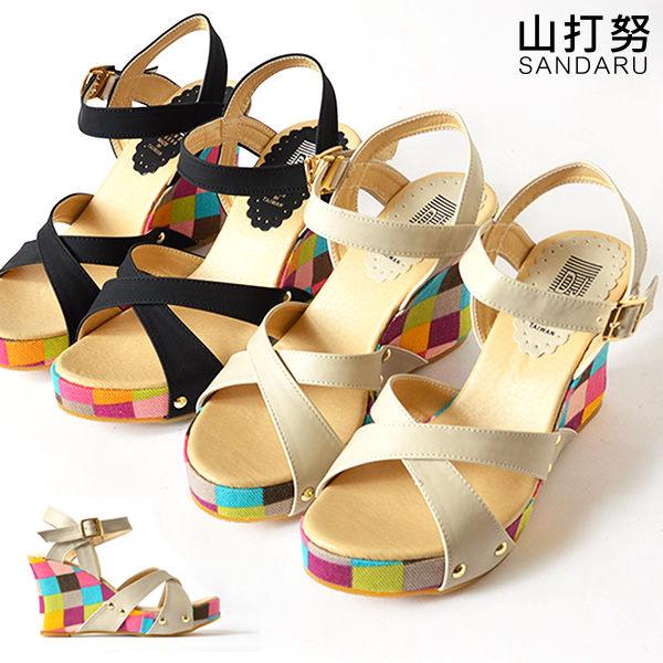 楔型涼鞋 多彩格子楔型涼鞋~ 山打努SANDARU~106A2216^#46~