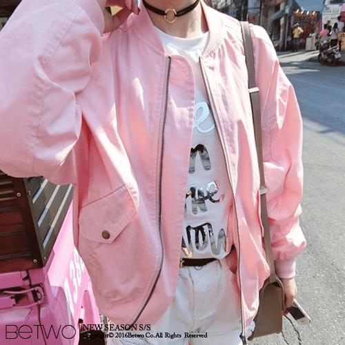 彼兔 betwo.長袖外套 PFD~粉色拉鏈小圓領夾克棒球長袖外套~5559~PS~020