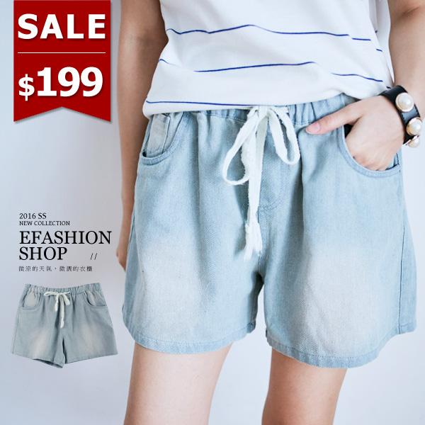 牛仔褲~後口袋皮標復古水洗刷色腰抽繩牛仔短褲~eFashion 預~D10507370~