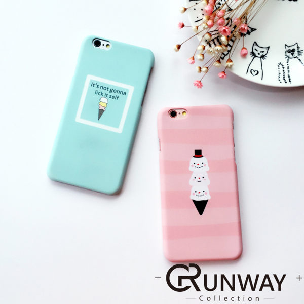 小清新 夏日冰淇淋 圖畫 粉彩色調 手機殼 蘋果 iPhone6 Plus 6s 磨砂半包