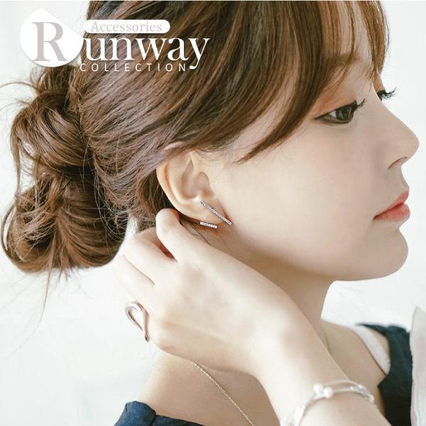 雅緻 直線條 鑲鑽 不對稱 優雅  耳環 耳針式 自然 鑽石線條 耳釘 玫瑰金 白金色