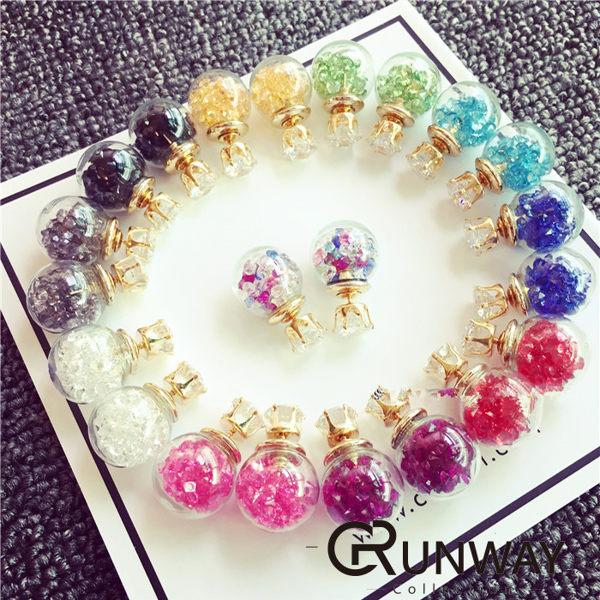 韓國 立體水晶小鑽玻璃球 超閃鑽石耳環 滾動小鑽 耳針式 水鑽七彩氣泡雙面耳釘 碎鑽耳環