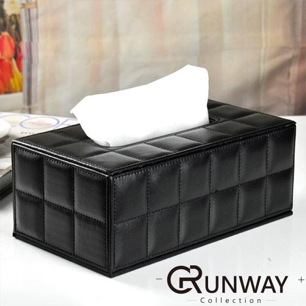 簡約 長方型 車縫線格紋皮革面紙盒 精緻小型 收納 便利 皮質紙巾盒 抽取式 衛生紙盒
