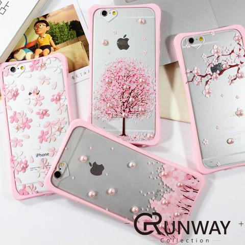 立體珍珠裝飾 櫻花圖案 小蠻腰 手機殼 蘋果iPhone 6s Plus 浪漫 粉色全包邊