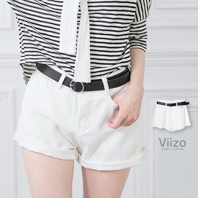 ~Viizo~夏日不可缺 鬚邊白色丹寧牛仔短褲 附皮帶