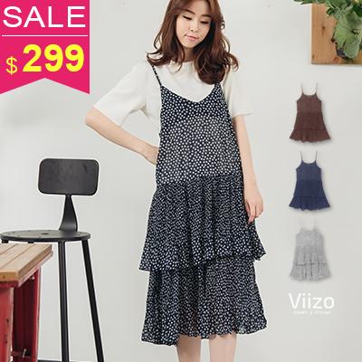 ~ 兩件299~~Viizo~百變搭物花紋細肩帶層次蛋糕裙雪紡長洋裝~3色