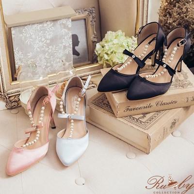 鞋子 緞面T字珍珠水鑽蝴蝶結高跟鞋~05030161~~Ruby s 露比午茶
