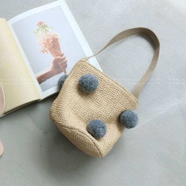 灰色 毛球 手提包 水桶包 圓桶包 編織小包 海灘包 小黑點點 正韓 ANNA S.