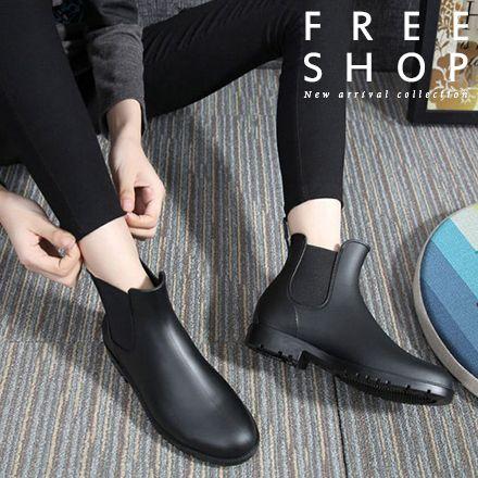 Free Shop~QFSBL9009~情侶款 平跟套鞋及踝霧面消光防滑防水雨鞋雨靴短靴軍