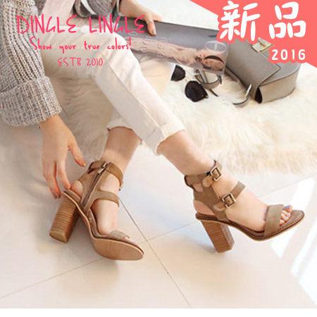 丁果 ► 純色磨砂復古高跟鞋涼鞋
