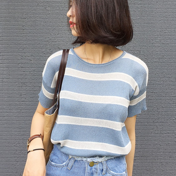 學院風 條紋針織衫短袖學生套頭線衫k04~57215~ae~2