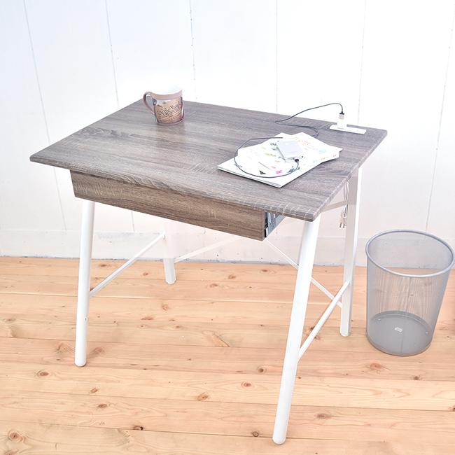 北歐風工作桌 立體浮雕PC書桌 桌子90公分 ^(充電插座^) B15048