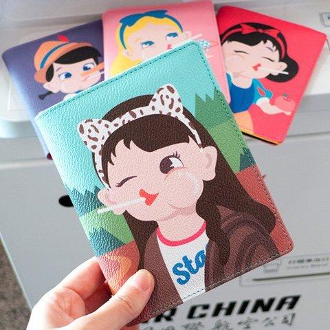 搞怪童話故事系列白雪公主愛麗絲小木偶蒙娜麗莎 多 護照夾 皮革證件夾