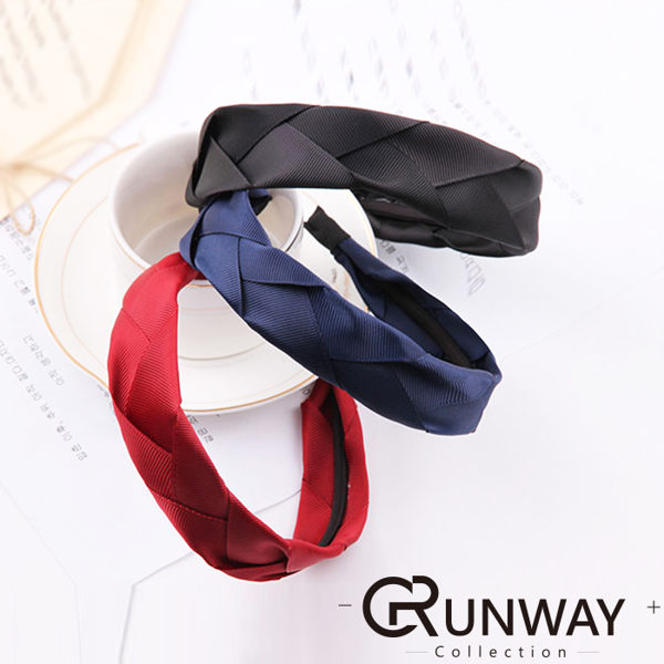 韓國 緞帶編織 寬邊髮箍 簡約布藝辮子 髮圈 素色 辮子緞帶 髮箍 髮飾 髮箍