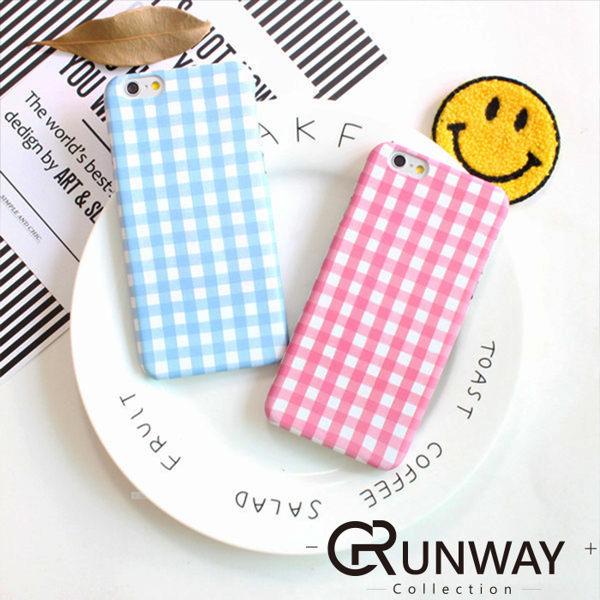 清新簡約 粉藍 條紋格子 水貼硬殼 手機殼 蘋果 iPhone 6 iPhone6 Plu