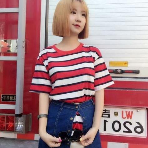 複古T恤簡約藍白紅小條紋班服情侶短袖k04~55413~ac~13