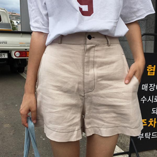 58折~短褲~S^~M簡約修身單品素色休閒短褲 Kiwi Shop奇異果0811~SPA3