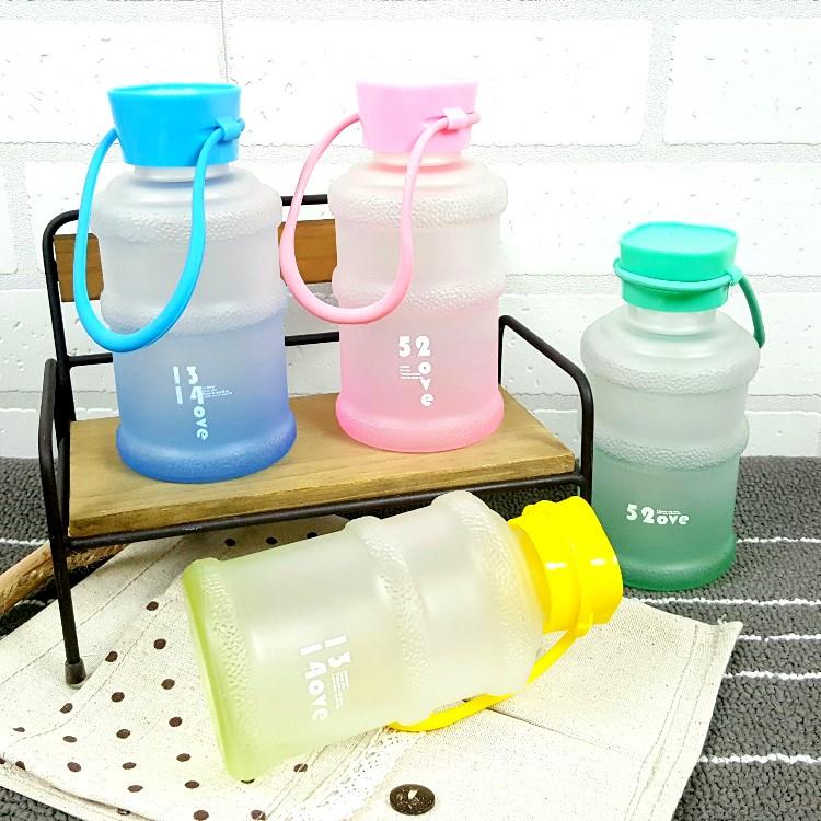 水杯 玻璃杯~KCG093~手提霧面小水桶玻璃杯