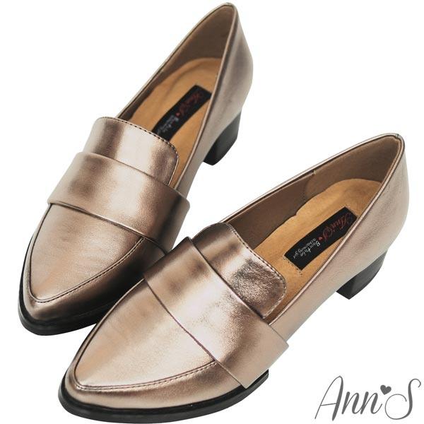 Ann'S時髦復古~韓系粗跟紳士休閒便鞋~古銅金