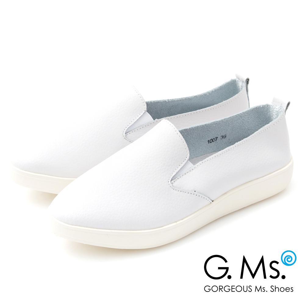 G.Ms. 牛皮素面微尖楦頭懶人平底鞋I款~白色