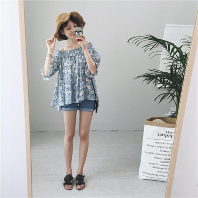50^%OFF SHOP~G016569C~實拍!田園風復古一字領露肩花卉嬰兒藍襯衫~洋裝