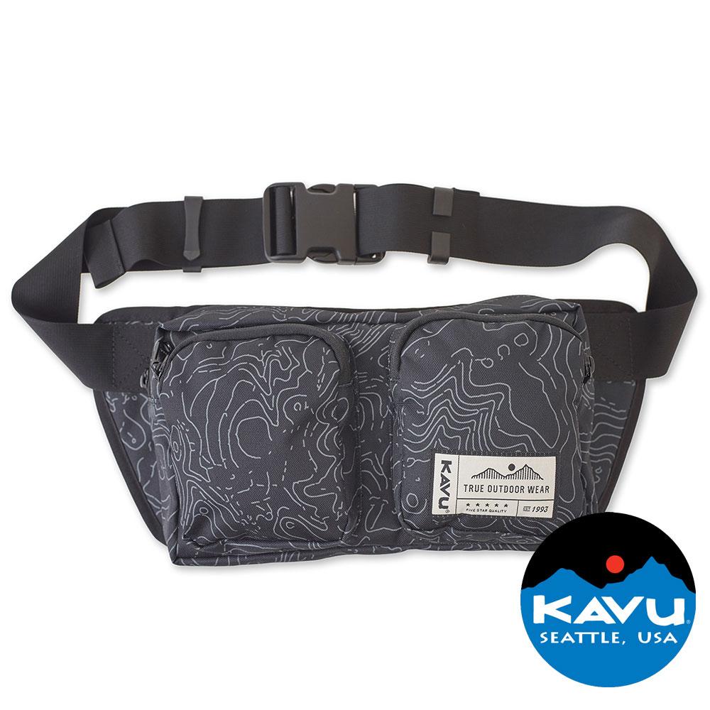 ~KAVU~ Pacer Pack方形腰包 黑色等高線 Black Topo 露營|休閒|