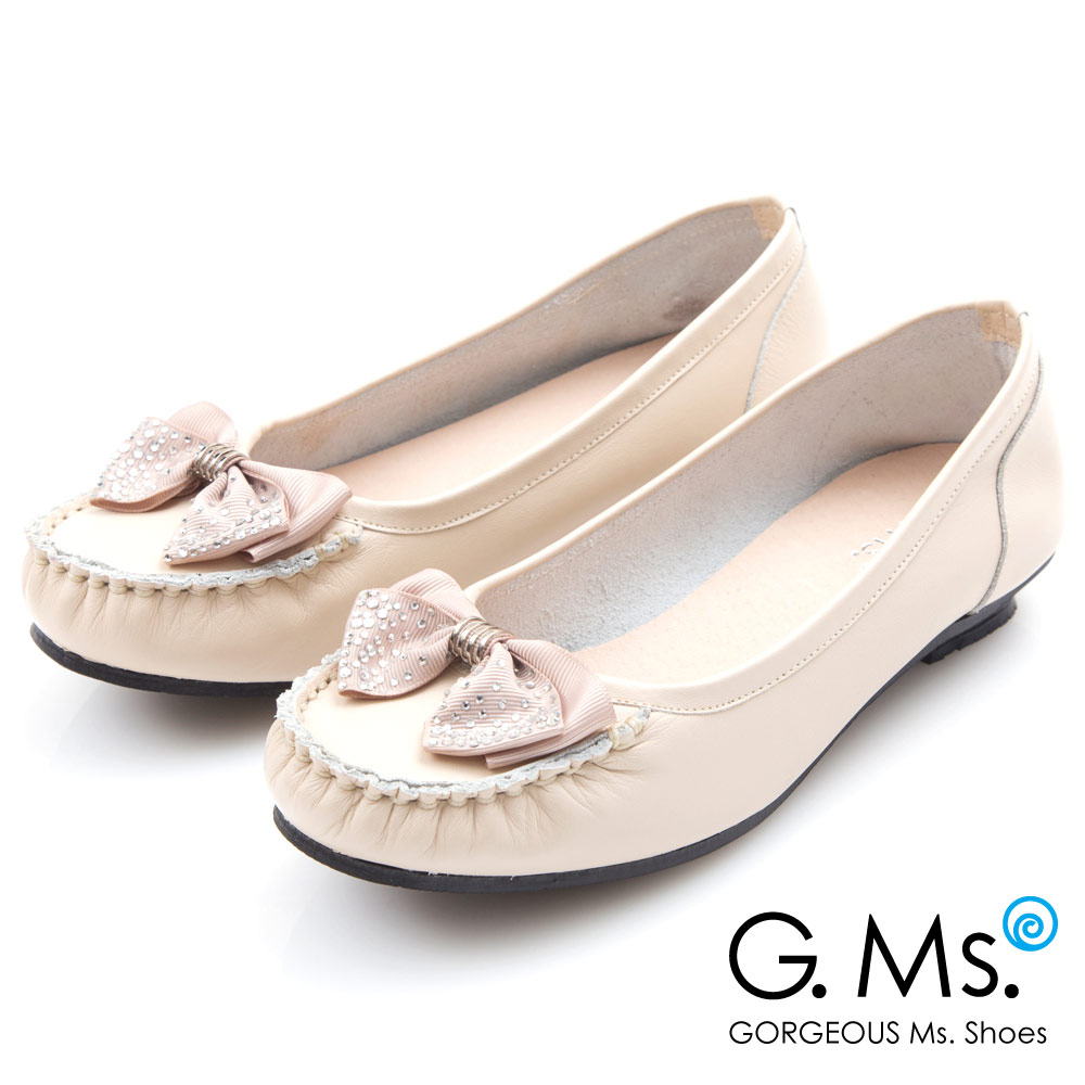 G.Ms. MIT系列~燙鑽蝴蝶結莫卡辛低跟鞋~米白