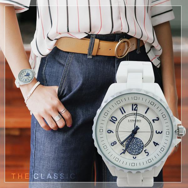 真陶瓷中性錶 LONGBO龍波 立體 錶緣 波紋錶盤 純白簡約風 ^~贈 盒^~ ~匠子工