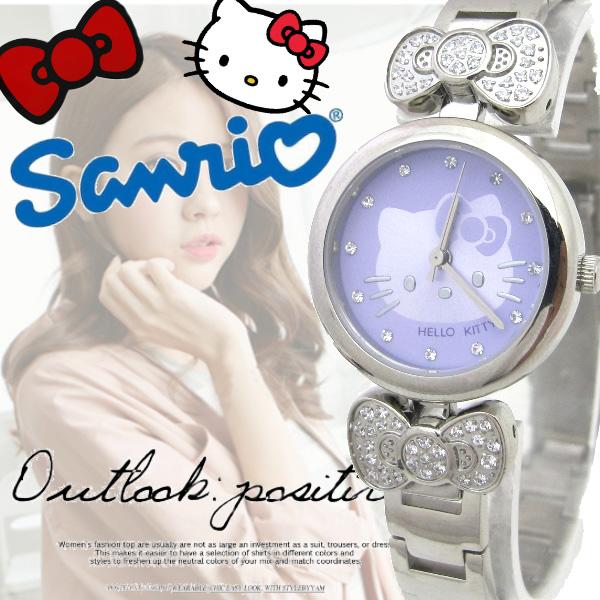 三麗鷗 Hello Kitty 凱蒂貓 女錶 水鑽蝴蝶結 閃耀晶鑽 鋼錶 俏麗 腕錶 ^~