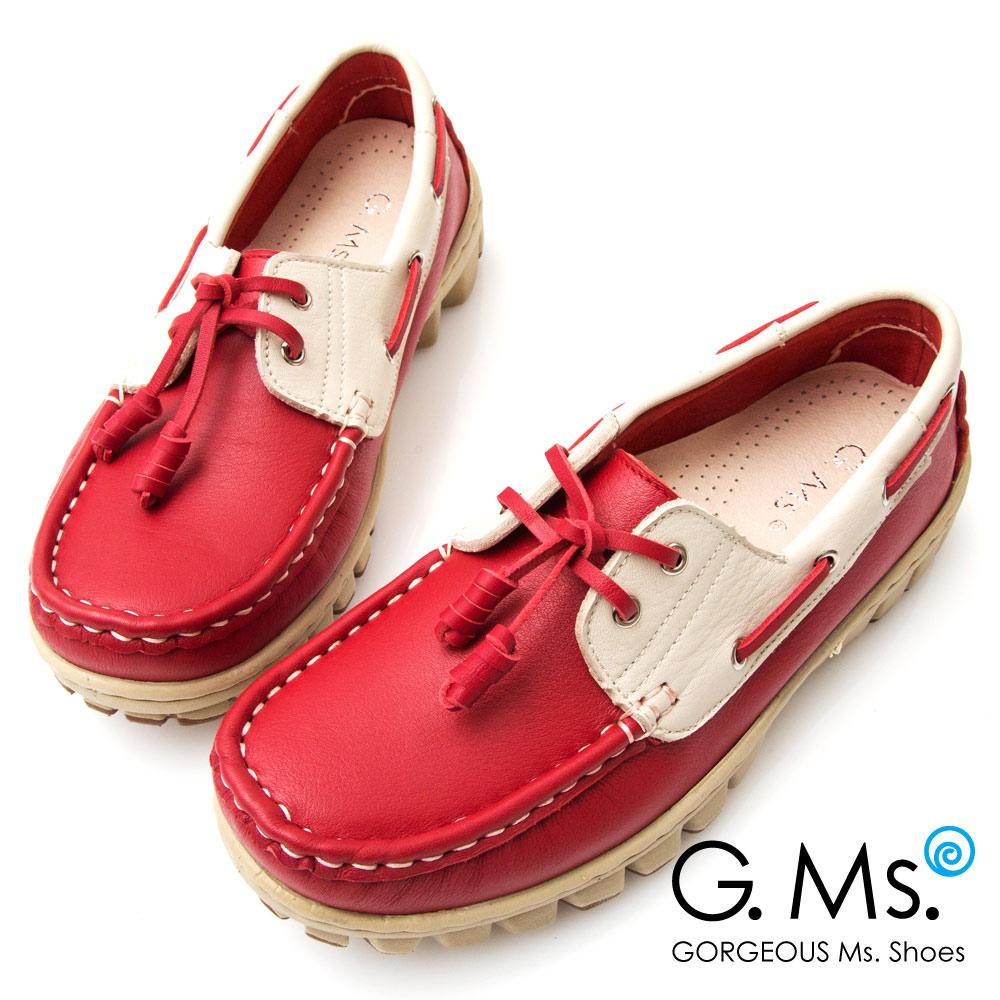 G.Ms. MIT系列~專利水洗牛皮撞色帆船休閒鞋~紅色