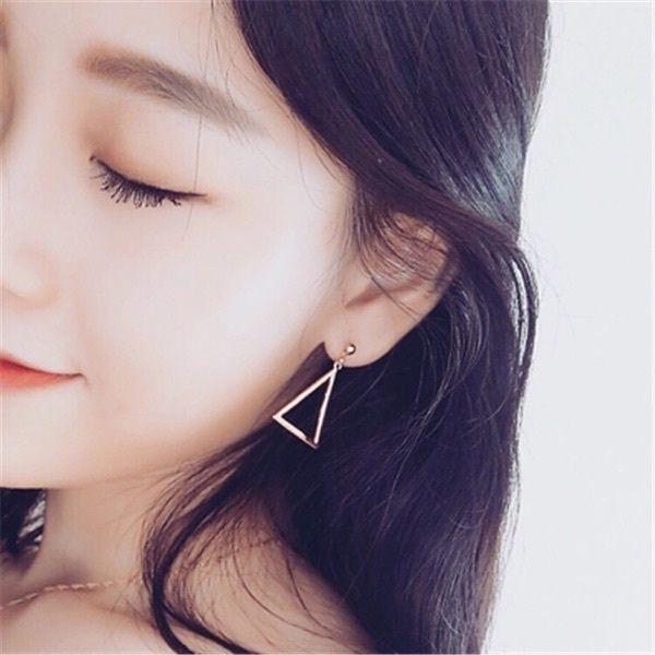 PS Mall  簡約風百搭多戴法不對稱金屬三角流蘇耳環 耳飾耳釘 ~G2215~