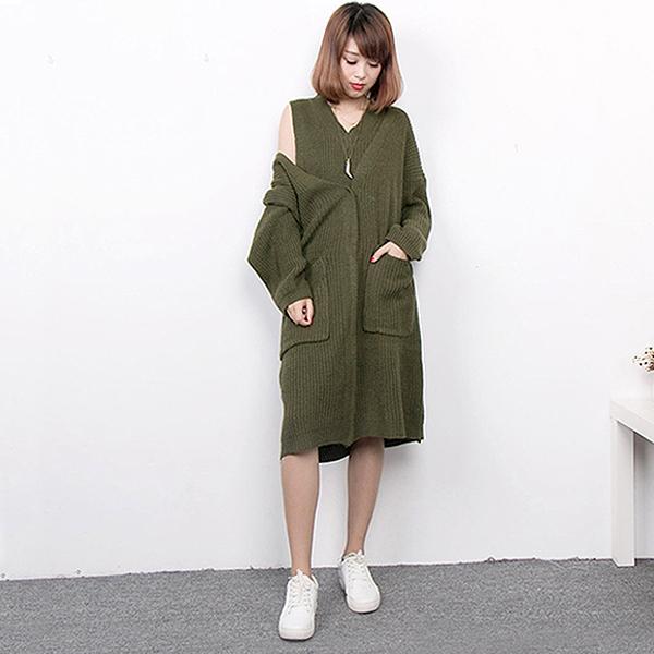 韓國V領寬鬆針織背心裙套裝  衣櫃控~WardrobE  DM~B07