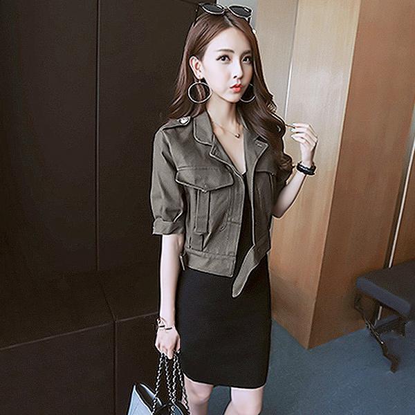 韓國軍裝風短版 夾克  衣櫃控~WardrobE  HA1217