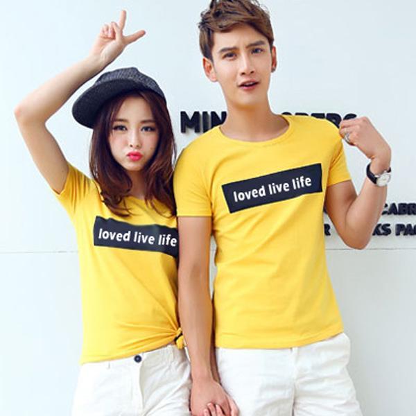 ◆ 出貨◆T恤.情侶裝.班服.MIT 製. 配對情侶裝.客製化.純棉短T. 長框loved