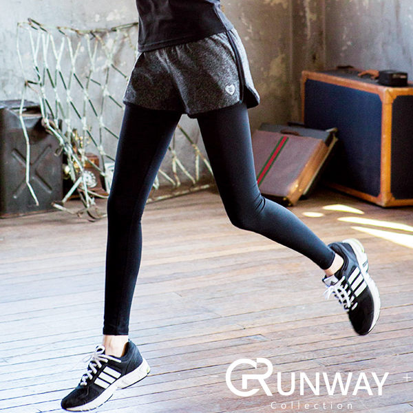 愛心圖樣裝飾 假兩件式瑜珈褲 顯瘦百搭 休閒褲 超彈性內搭 短褲 吸濕排汗 健身跑步 休閒