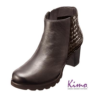 俐落 真皮格紋修身短靴^(氣質咖K15WF058078^)‧牛皮‧短靴‧跟鞋‧靴子~Kim