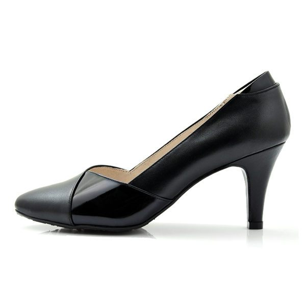 karine^(MIT 製^)全真皮斜紋拼色尖頭高跟鞋~黑色