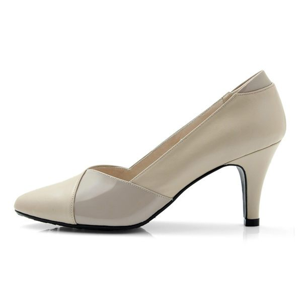 karine^(MIT 製^)全真皮斜紋拼色尖頭高跟鞋~米色
