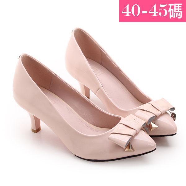 大 女鞋~尖頭氣質蝴蝶結鉚釘高跟鞋/跟鞋40~45碼 粉色~JBHB535 ❤172巷鞋舖