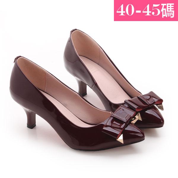 大 女鞋~尖頭氣質蝴蝶結鉚釘高跟鞋/跟鞋40~45碼 酒紅色~JBHB535 ❤172巷鞋