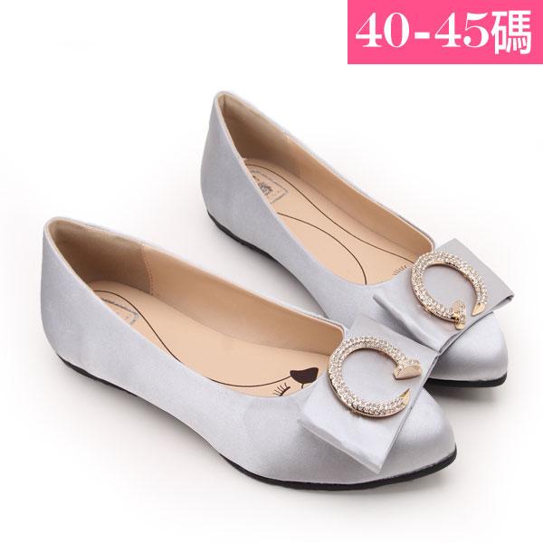 大 女鞋~名媛尖頭立體蝴蝶C字水鑽平底鞋/平底鞋40~45碼 灰色~ZX70039❤172