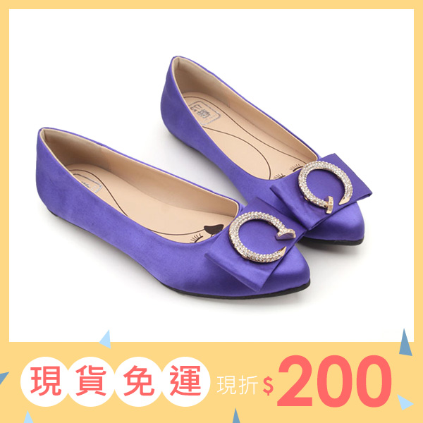 大 女鞋~名媛尖頭立體蝴蝶C字水鑽平底鞋/平底鞋40~45碼 藍色~ZX70039❤172