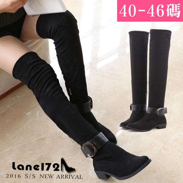 大 女鞋~ 扣環超彈力過膝靴/靴子40~46碼 黑色 腿圍~YSD80102❤172巷鞋舖