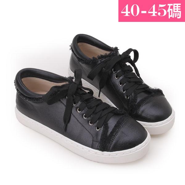 大 女鞋~街頭刷邊圓頭平底休閒鞋/休閒鞋40~45碼 黑色~YSD6528❤172巷鞋舖~