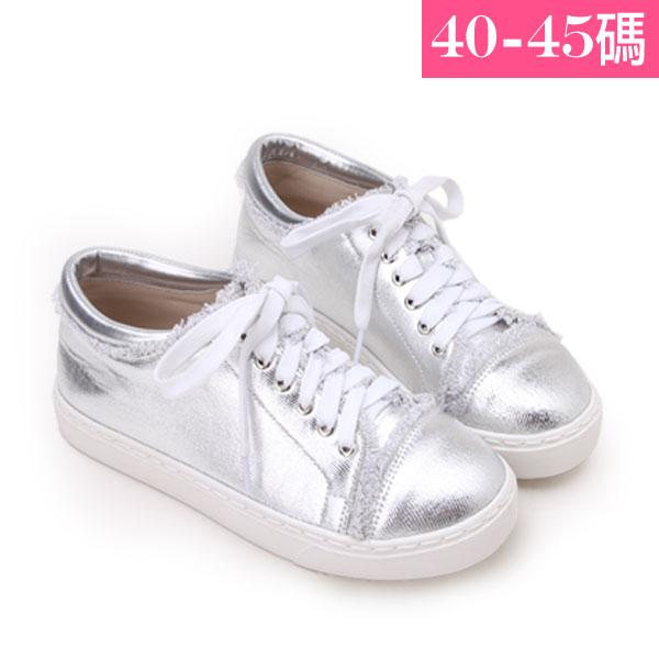 大 女鞋~街頭刷邊圓頭平底休閒鞋/休閒鞋40~45碼 銀色~YSD6528❤172巷鞋舖~