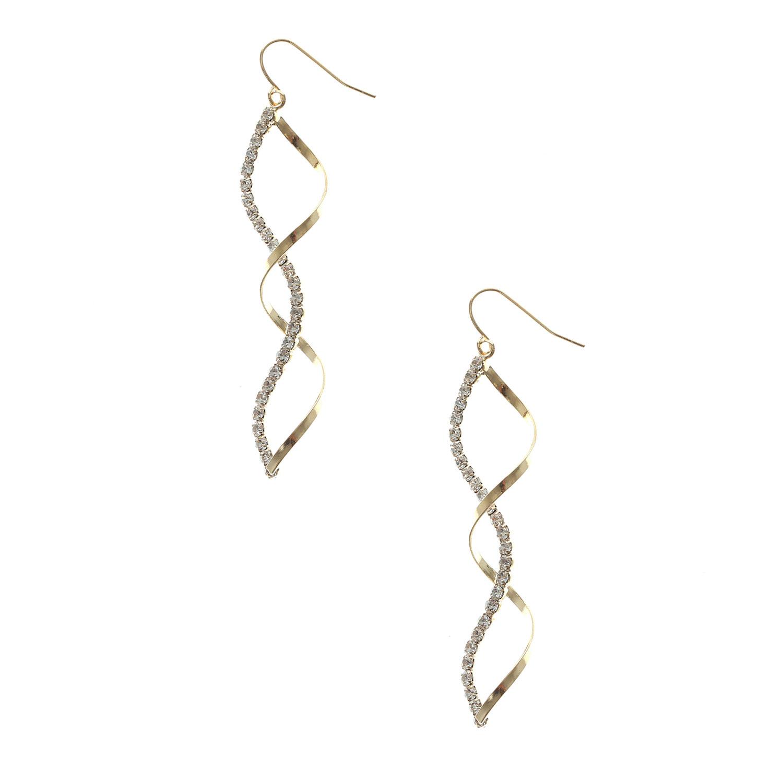 Gold Crystal Twist Earrings 耳環