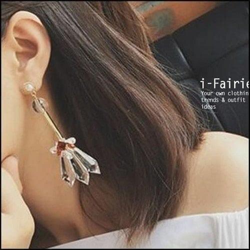 誇張水晶長款耳環耳釘~SL31936~