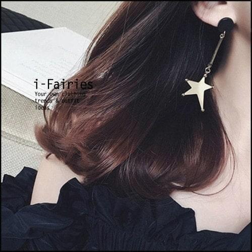 不規則五角星星長款耳環 耳釘~SL31928~