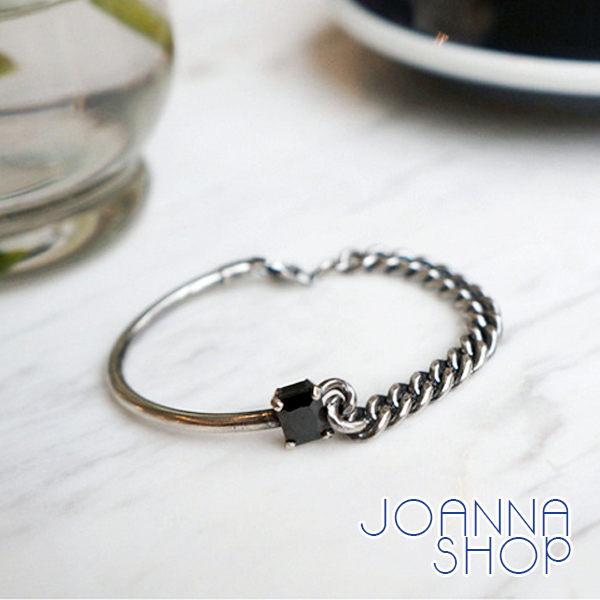 手環 黑瑪瑙不對稱鏈條手環~Joanna Shop