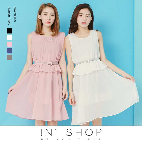 IN' SHOP 洋裝~壓摺雪紡連身裙~附腰帶^(共5色^)~KT23027~